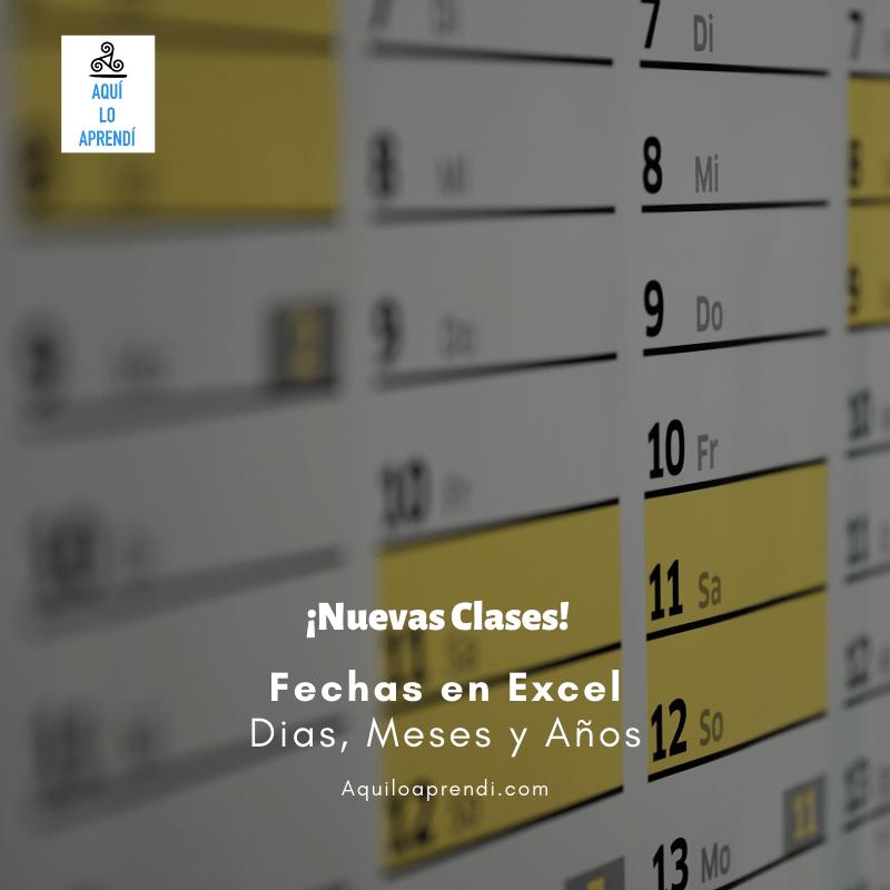 Partes de la Fecha de Excel
